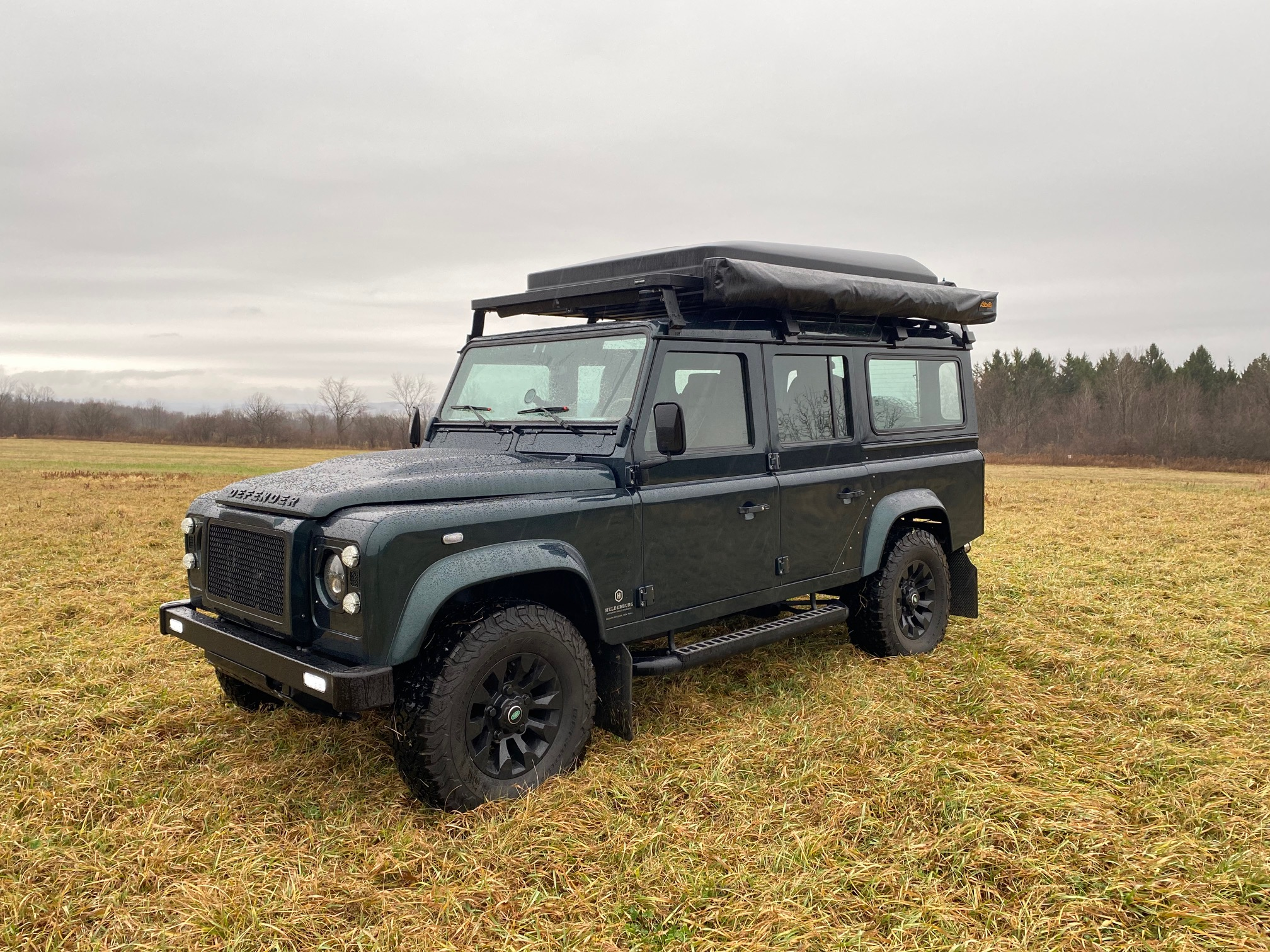 The lighting on a Helderburg Bespoke Defender (custom built Defender) is modern LED technology that will light the darkest roads and the light beam pattern is wide to see animals or pedestrians on the shoulder...without blinding on-coming traffic. Tent and Roof rack not included.