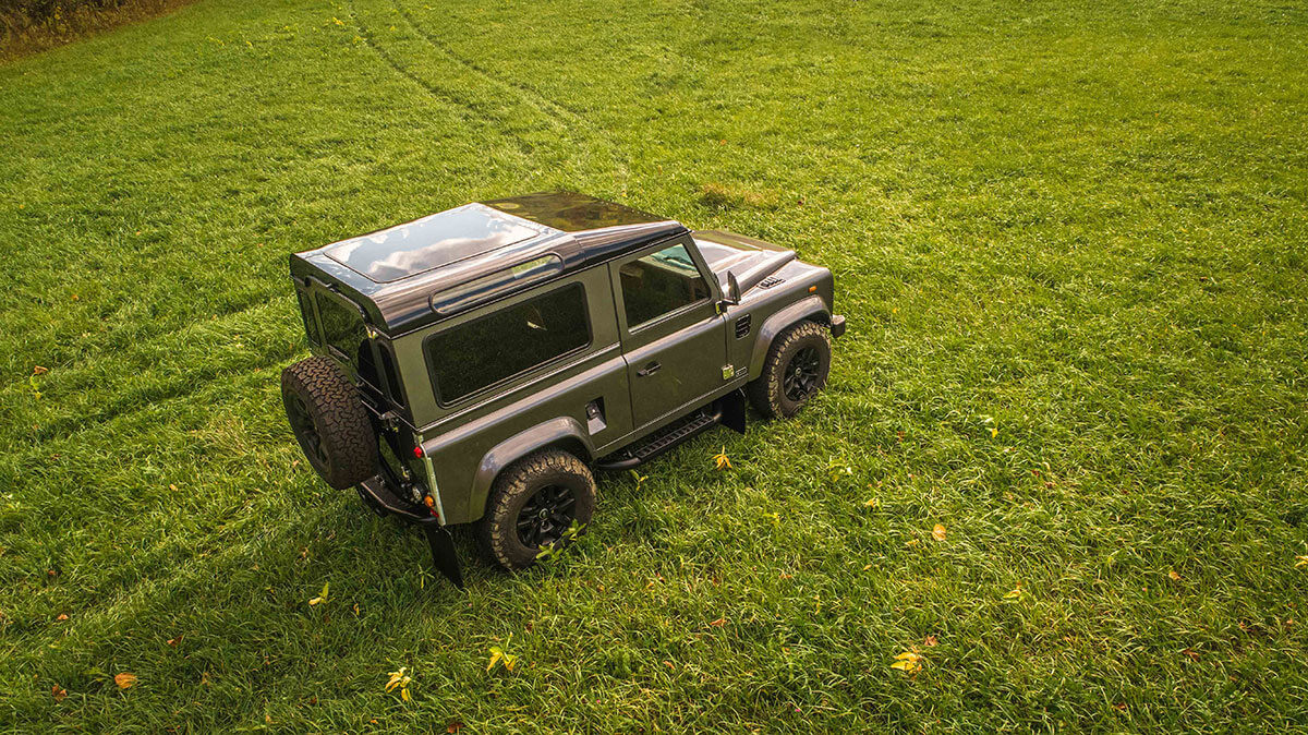 Land Rover Defender D90: Exterior Drone Shot 3/4 Side View