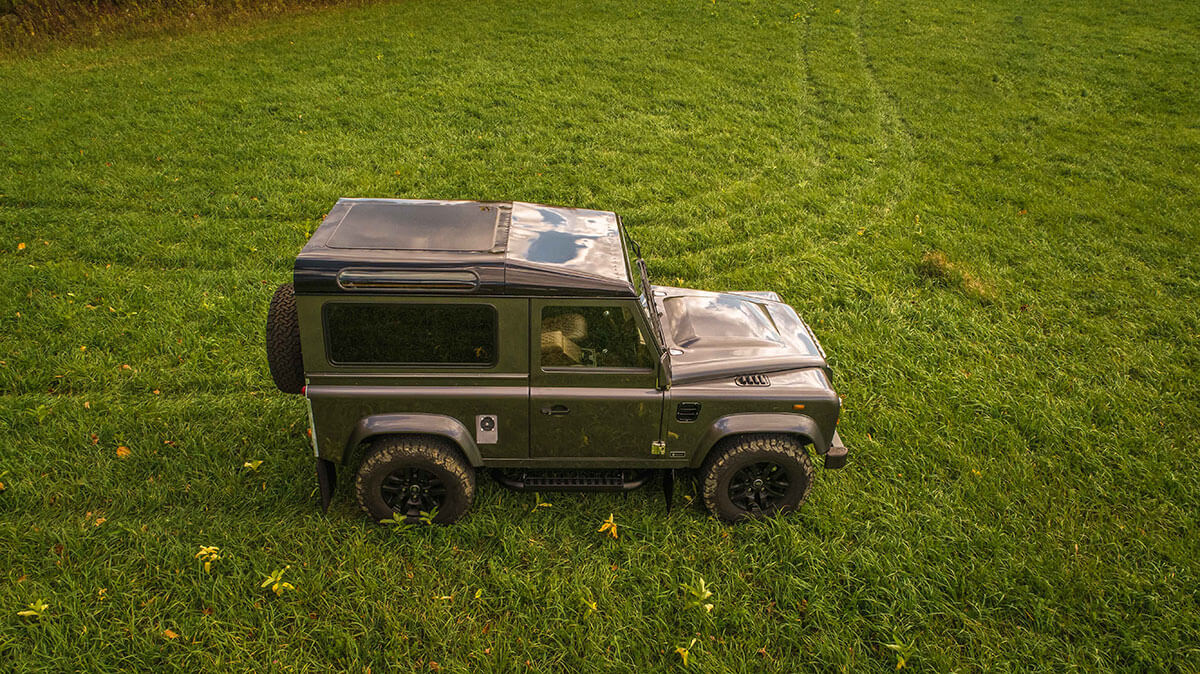 Land Rover Defender D90: Exterior Drone Shot Side View