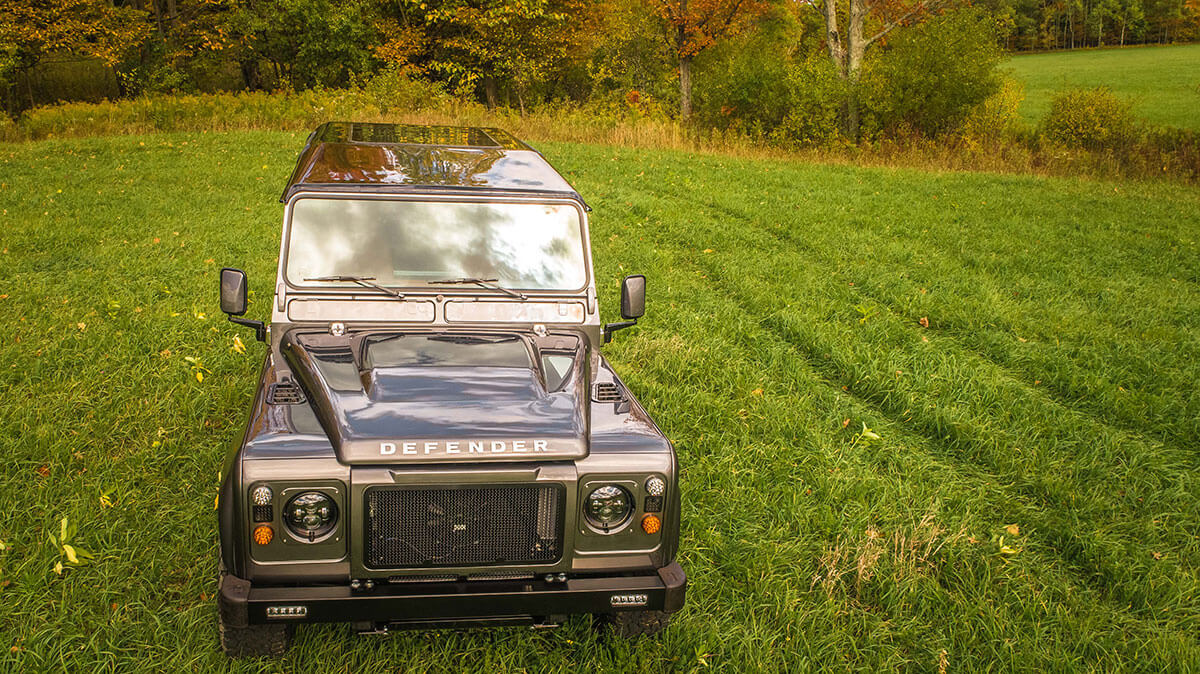 Land Rover Defender D90: Exterior Drone Shot Front View