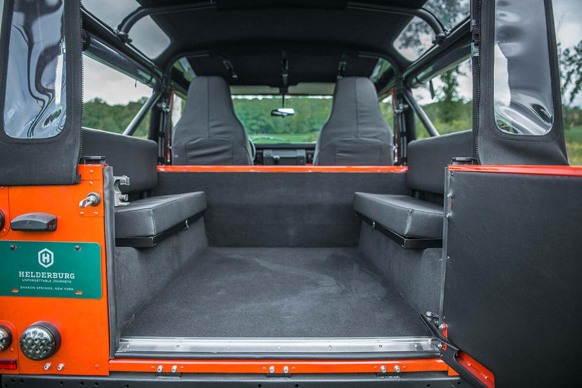 Land Rover Defender D90 Soft Top: Interior Rear View Open Tail Gate