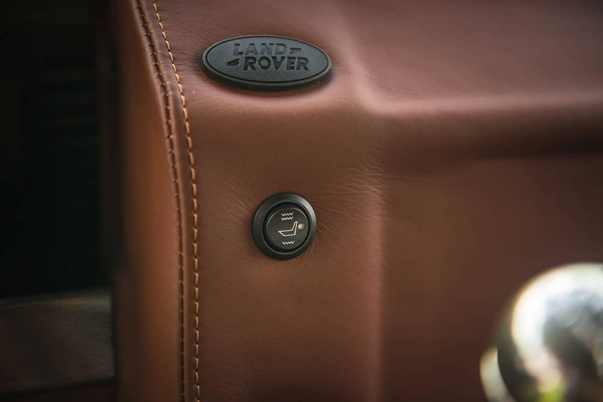 Land Rover Defender D90: Interior Detail Leather Dash and Land Rover Insignia