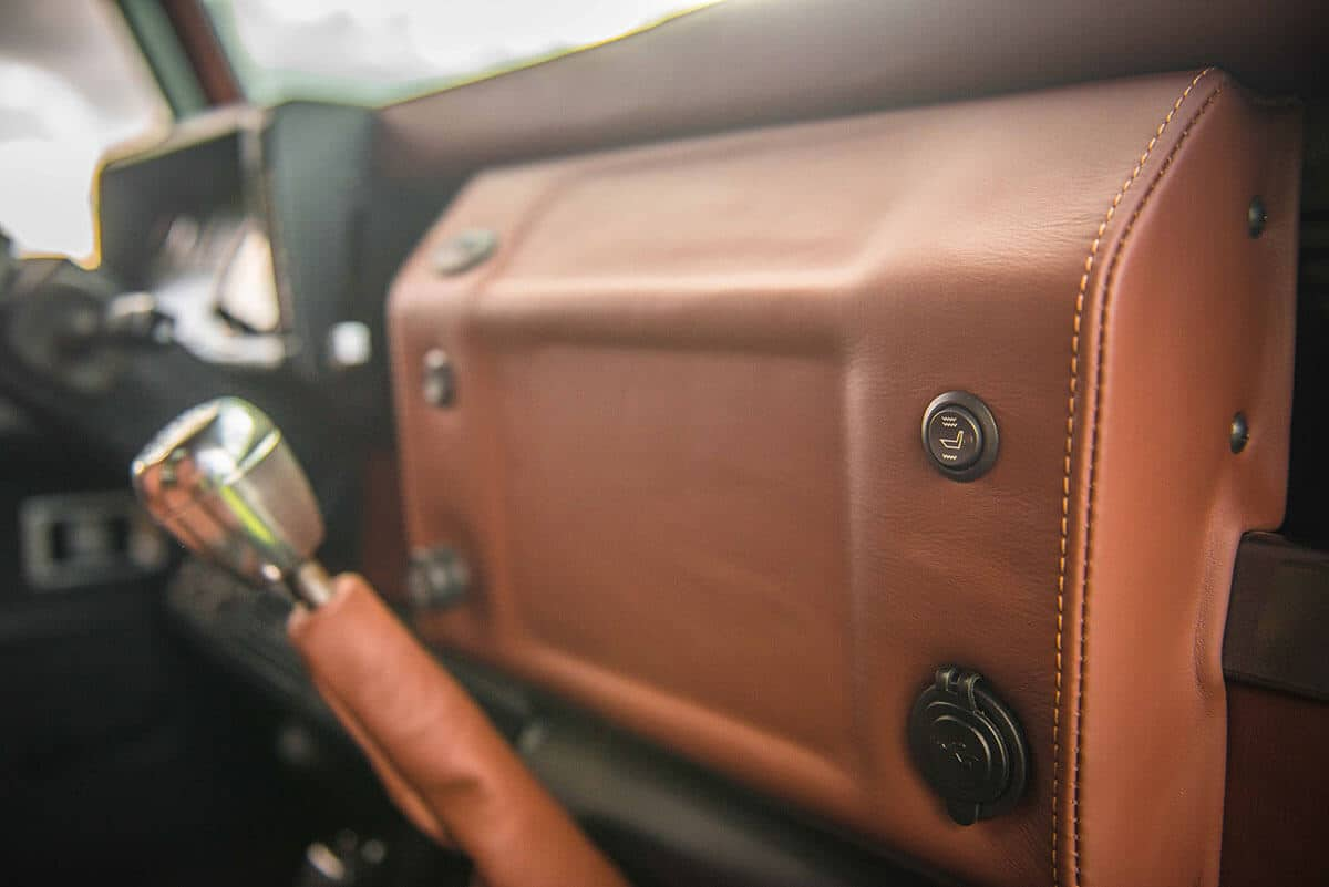 Land Rover Defender D90: Interior Detail Leather Dash and Gear Shift