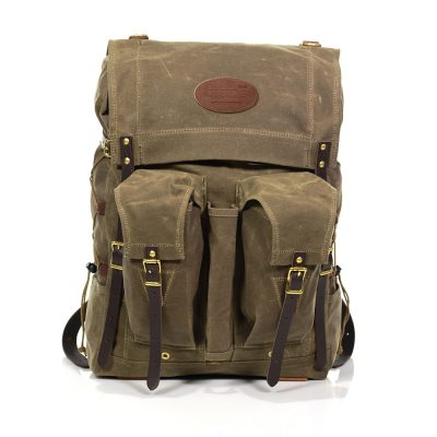 Bushcraft Pack Front View with D110 Defender Leather Patch