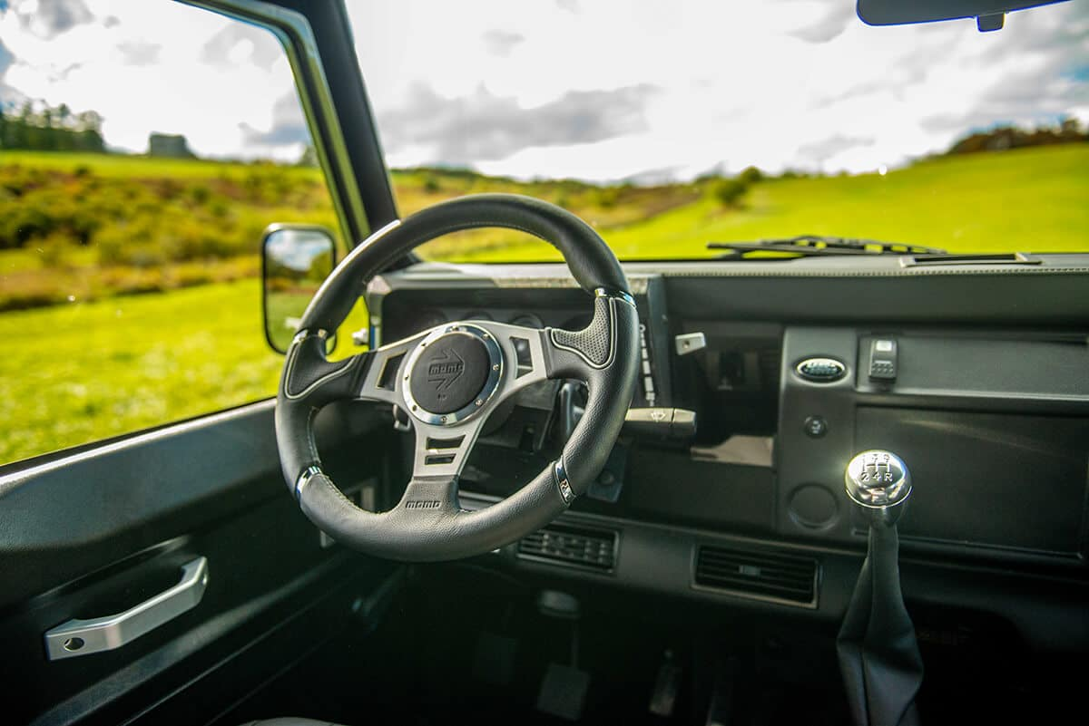 Land Rover Defender D110 Double Cab Bowler Bulldog: Interior Steering Wheel and Gear Shift