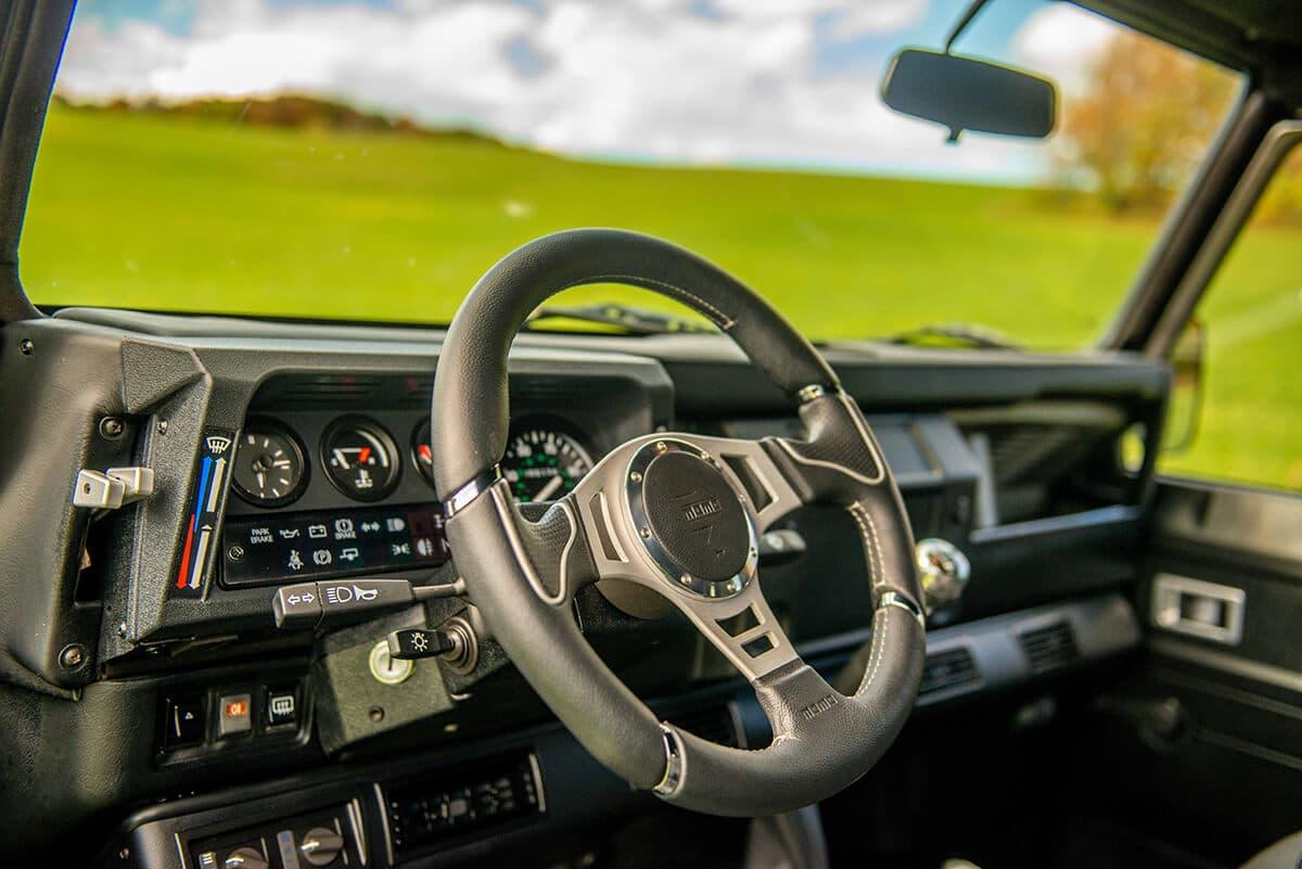 Land Rover Defender D110 Double Cab Bowler Bulldog: Interior Detail Dashboard amd Steering wheel