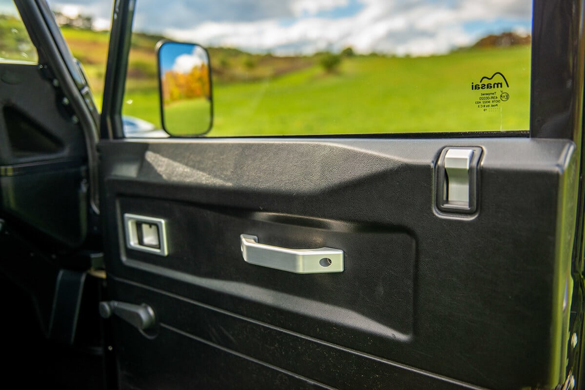 The glass of a Helderburg Bespoke Defender is thicker custom glass that reduces road noise and increases cabin comfort. You can also choose from factory light tint to factory dark tint. Power windows, central door locks and a heated windshield are all available options.