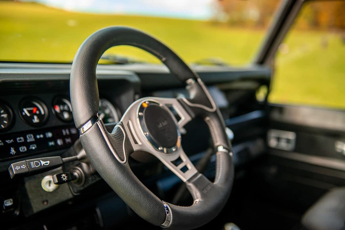 Land Rover Defender D110 Double Cab Bowler Bulldog: Interior Detail Steering Wheel