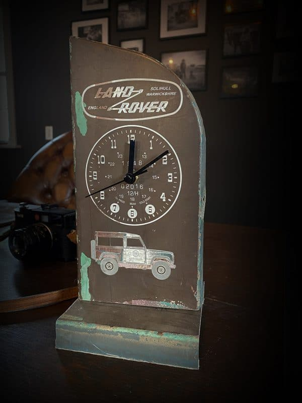 Land Rover Defender Clock in Russet Brown