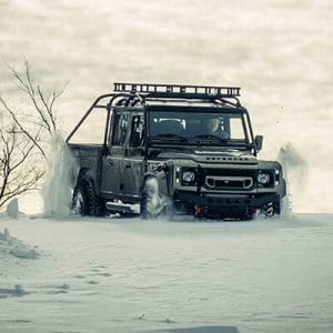 Land Rover Defender D130 in the snow