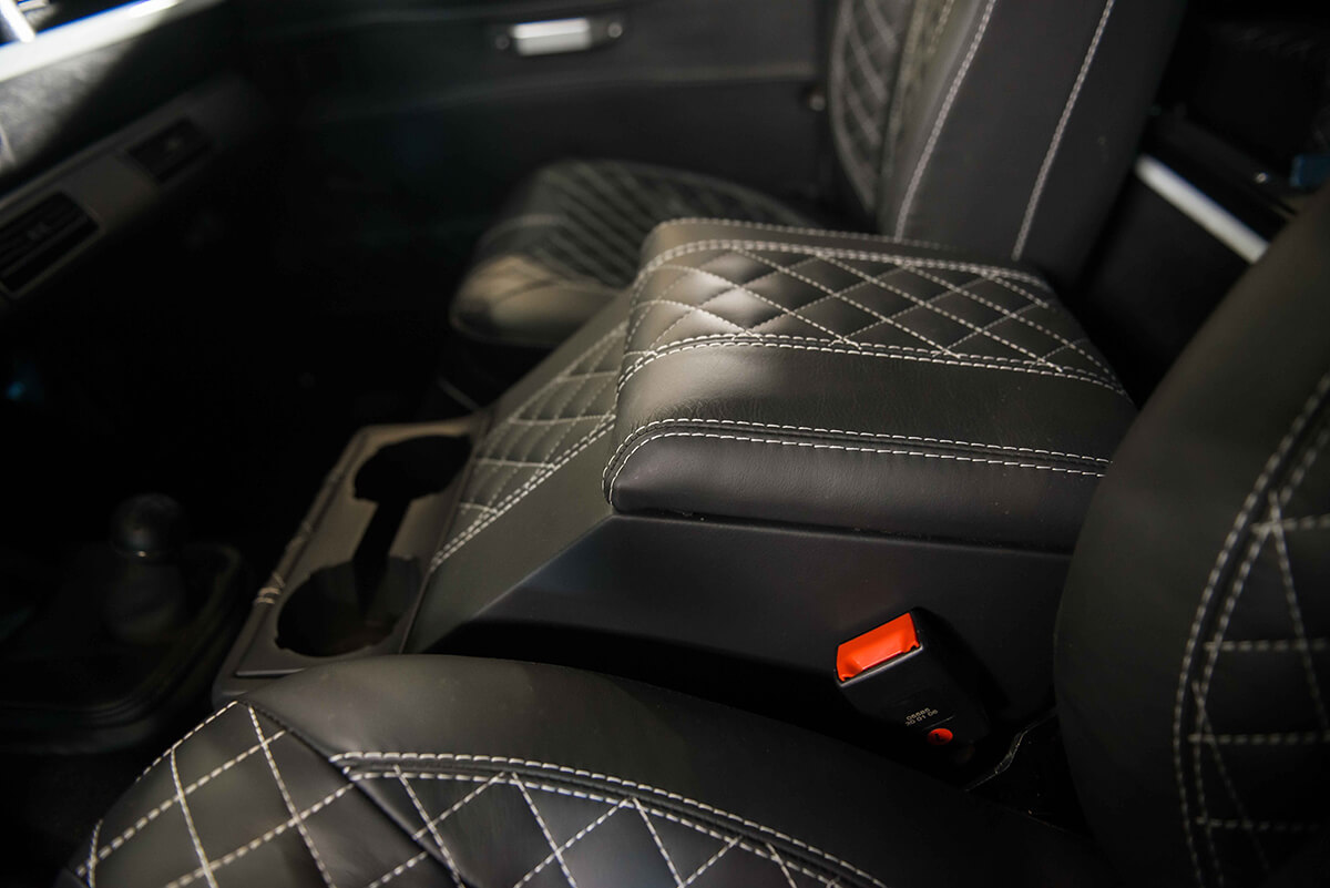 The Bespoke Leather Interior is all hand stitched and the seats are completely designed by hand from the seat frame up. We design the seating for our tall and not so tall clients so they are comfortable for long drives. Send this image to someone that would love this interior...tell them the seats are also heated.
