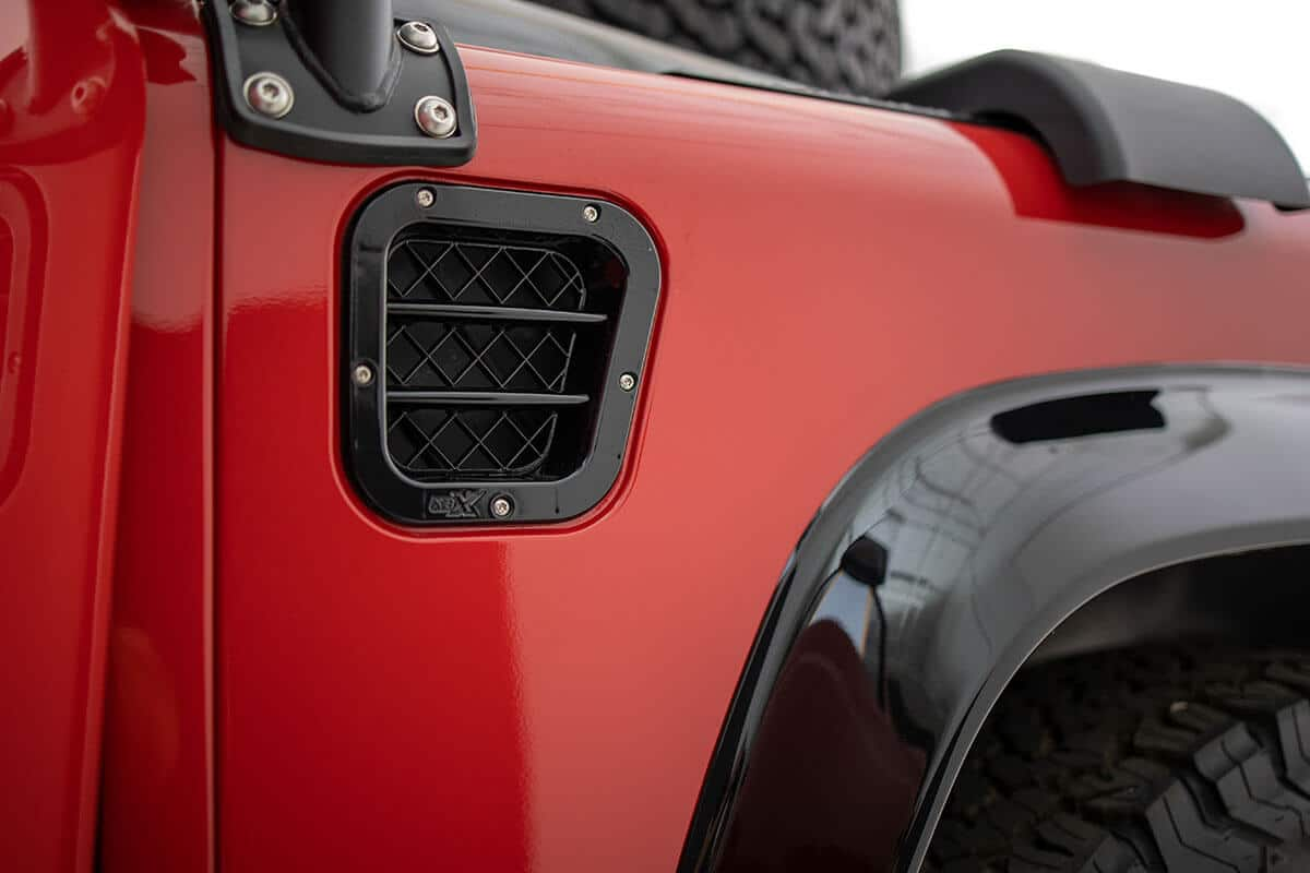 Helderburg Land Rover Defender D110 - Exterior Details: Vents and Painted Wheel Arches