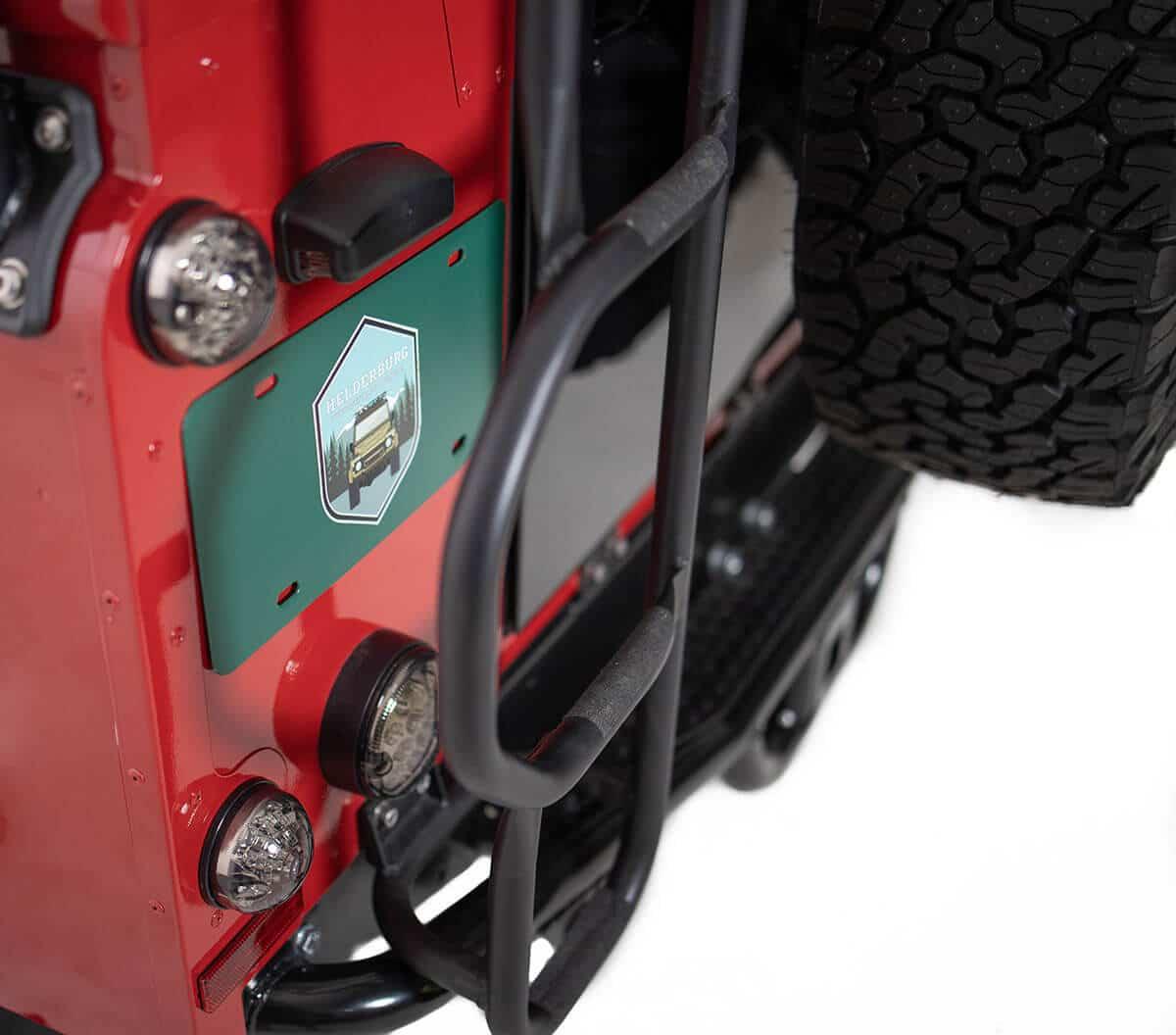 Helderburg Land Rover Defender D110 - Exterior Details: Helderburg Branding and Roof Access Ladder