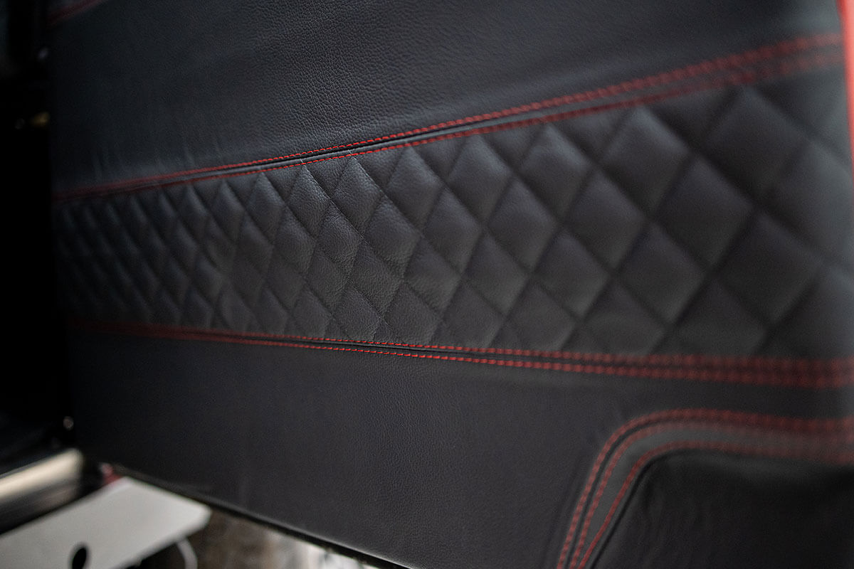 Helderburg Land Rover Defender D110 - Interior Details: Leather Door Card with Stitching Detail