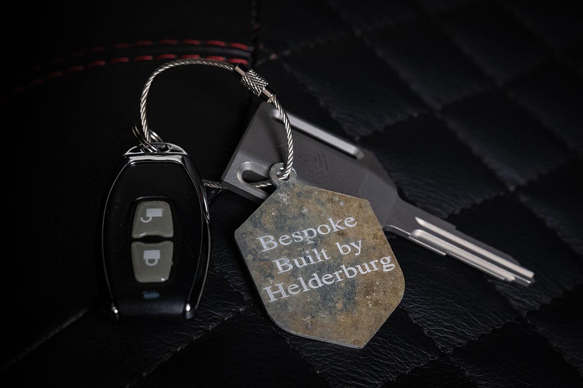 Helderburg Land Rover Defender D110 - Interior Details: Helderburg Branding and Key